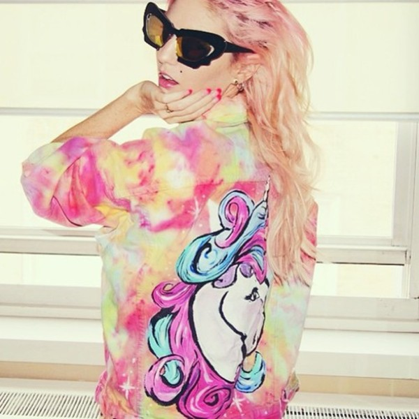 jacket audrey kitching unicorn handpainted tie dye