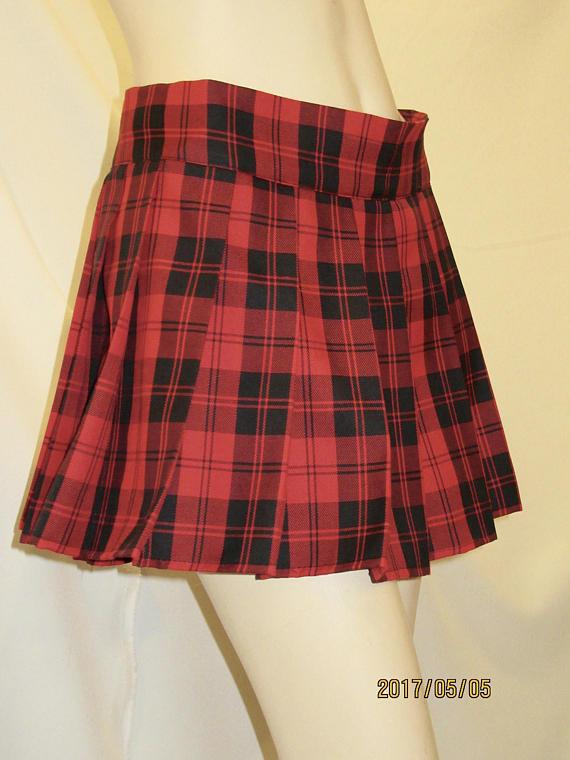 e0447240479b7f Beach cover up mini pleated skirt~Menzies Red Black Plaid Tartan ...