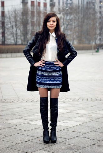 i am sony blogger white shirt pattern blue skirt thigh high boots