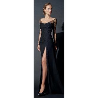 dress black dress embelished beautiful gown