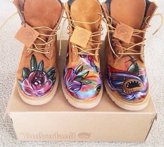 shoes timberland boots flowers pattern brown leather leather shoes purple green blue pink red yellow orange rose cool hippie boho bohem bohemian gypsy native native american nativeamerican timberlands boots