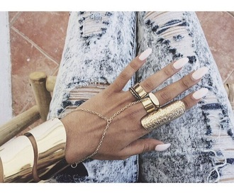jewels jewelry gold gold ring gold chain fashion vibe ring knuckle ring girly