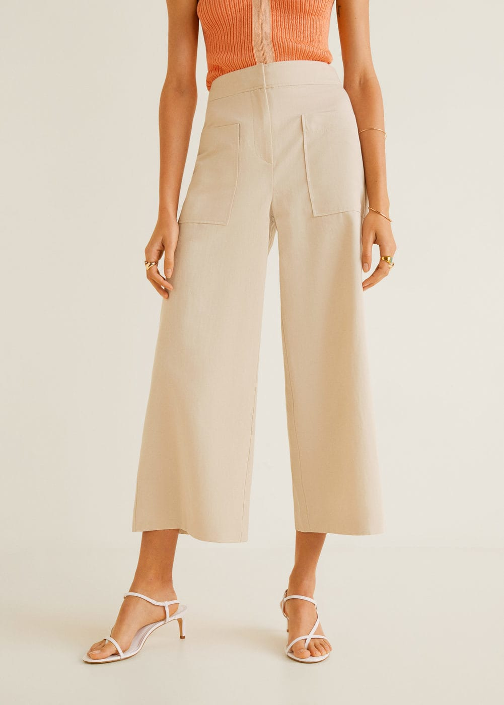 Pocket linen-blend trousers - Women | Mango United Kingdom