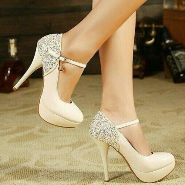 f39248c2b108 shoes nude ankle strap stilettos high heels cute white cream high heels  glitter prom shoes formal