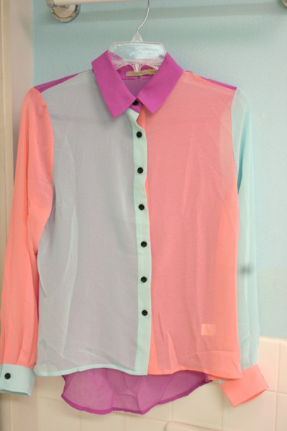 Blouse pastel shirt button up pink mint wheretoget for Pastel pink button down shirt