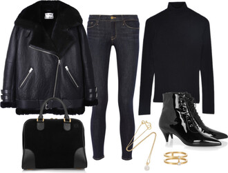 jewels bag winter outfits black boots pointed toe shearling jacket black black shearling jacket