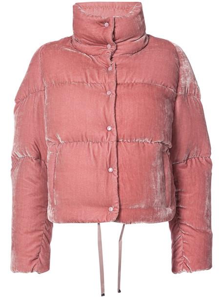 5eec5ce13 Moncler - cropped velvet puffer jacket - women - Silk/Viscose/Goose  Down/Polyimide - 0, Pink/Purple, Silk/Viscose/Goose Down/Polyimide