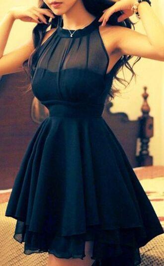 dress clothes black ruffles short turtleneck