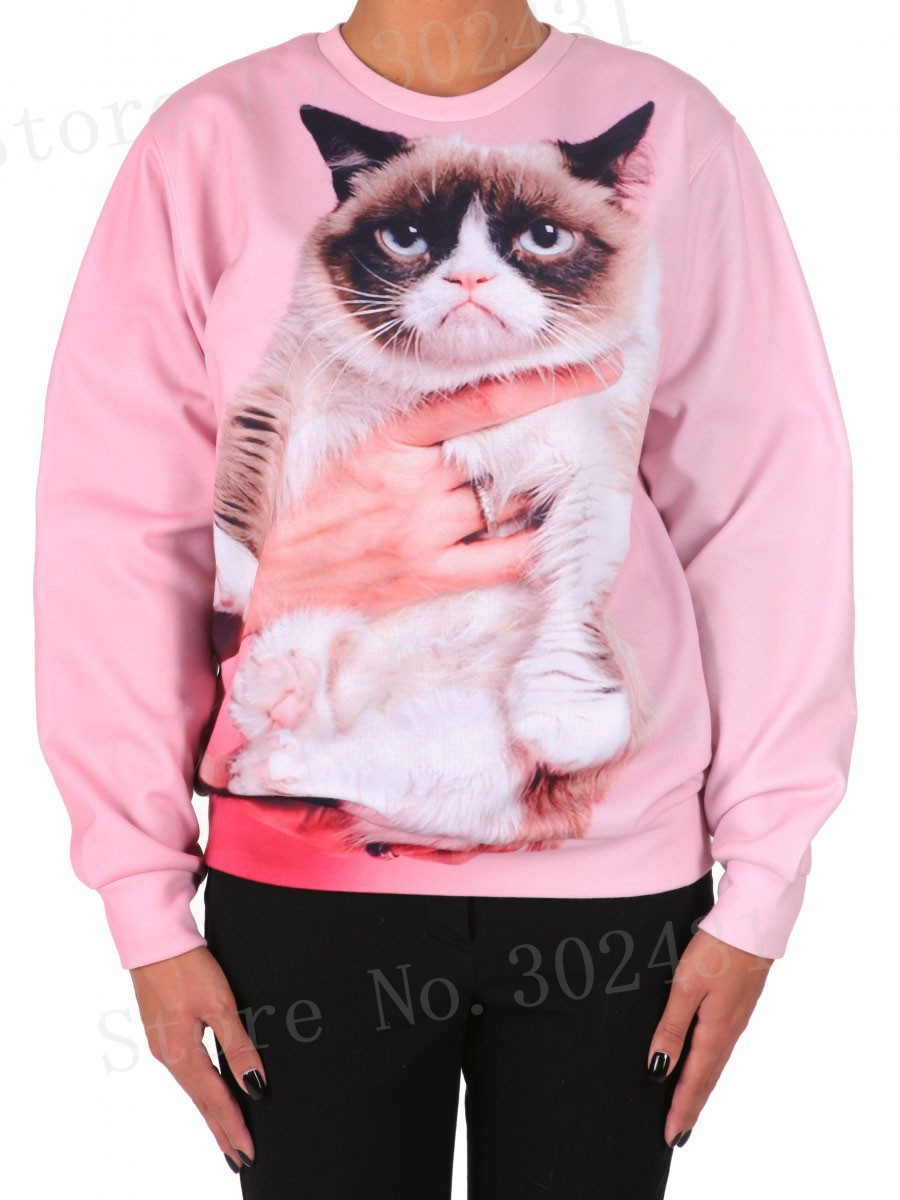 2014 NEW ARRIVAL Fashion Women/Men Angry Cat galaxy sweatshirt Pullovers long sleeve animal print 3d hoodies clothing top-in Hoodies & Sweatshirts from Apparel & Accessories on Aliexpress.com