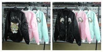 jacket cats cute black grunge pastel goth pink pastel pink pastel blue