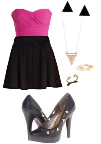 dress pink sleeveless crop top black skater skirt black and gold heels triangular jewelry