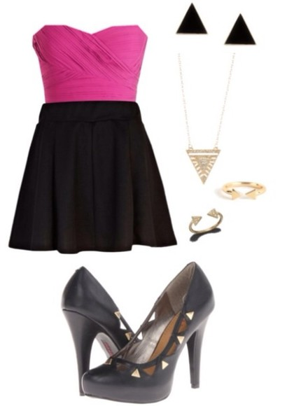 black skater skirt dress pink sleeveless crop top black and gold heels triangular jewelry
