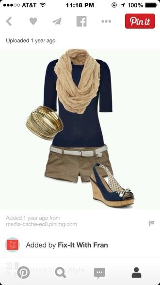 t-shirt dark blue wedge dark blue shirt tan shorts tan scarf