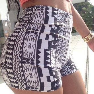 shorts aztec short aztec high waisted shorts mini shorts