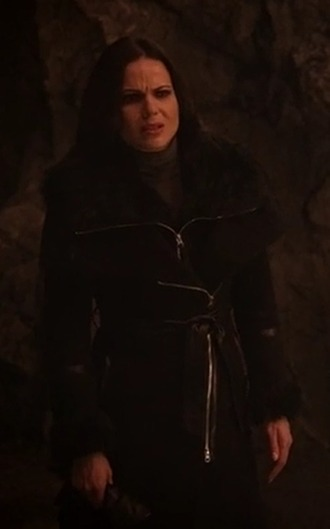 coat regina mills once upon a time show lana parrilla black fur winter outfits
