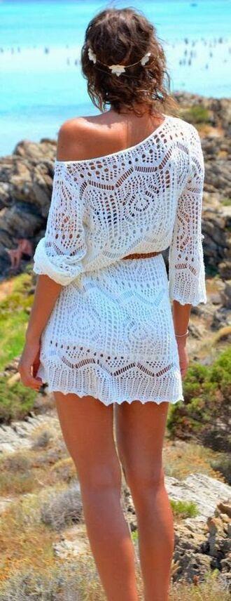 dress lace bohemian boho summer white