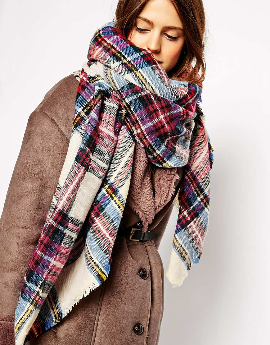 Asos oversized square scarf in check at asos.com