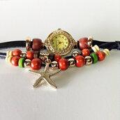 jewels,wrap watch,beaded,watch,starfish,charm bracelet,gold,freeforme