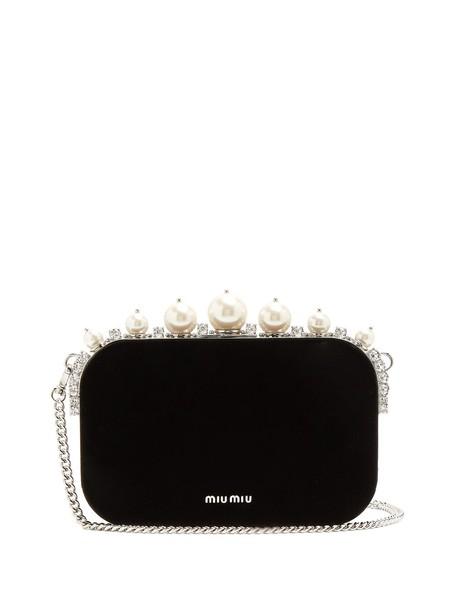 Miu Miu pearl embellished clutch velvet black bag