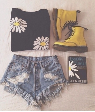 shorts jeans ripped blue light looking for alaska john green cutoff shorts high waisted shorts high waisted denim shorts john green looking for alaska shoes shirt