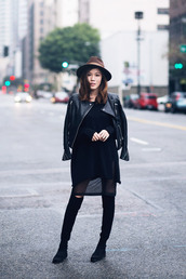 tsangtastic,blogger,hat,fedora,leather jacket,see through dress,knee high boots