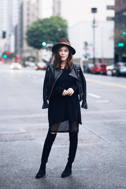 tsangtastic blogger hat fedora leather jacket see through dress knee high boots