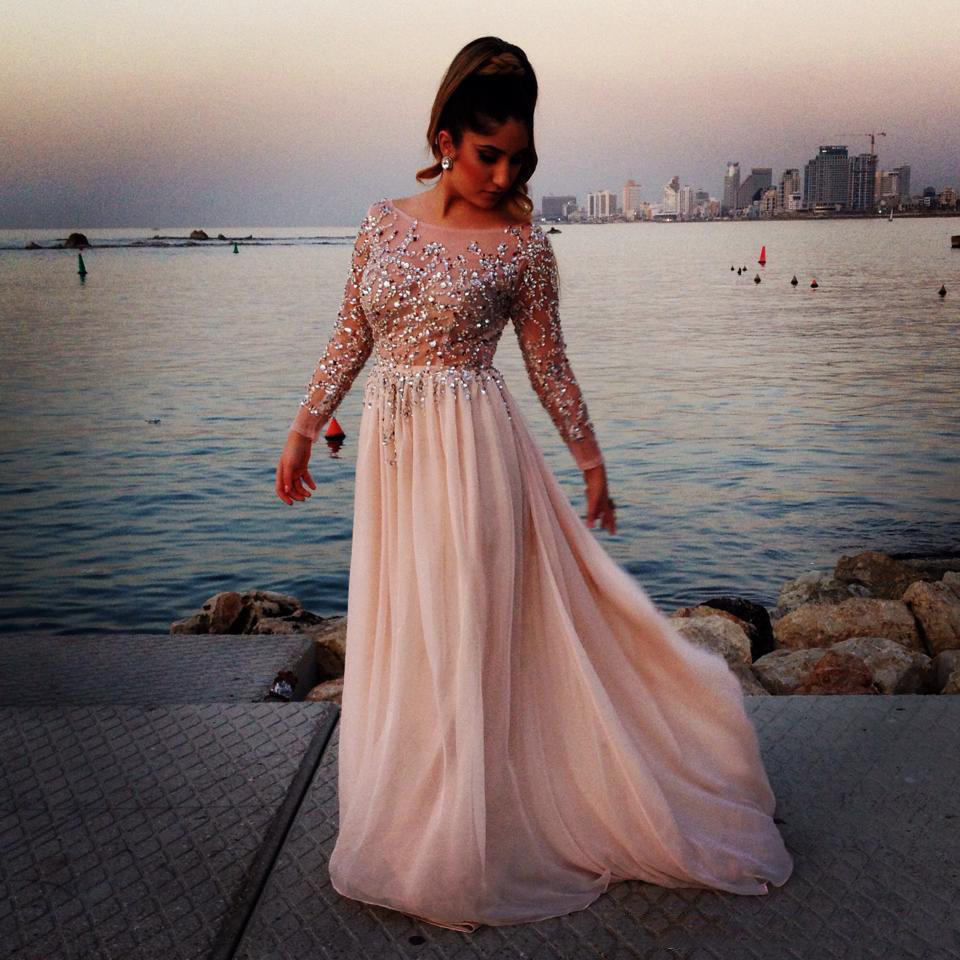 Evening Dress Fashion Sexy Prom Dresses Sheer Beads Lace Appliques Chiffon Cheap Long Sleeve Evening Gowns 2015 Prom Dress-in Evening Dresses from Weddings & Events on Aliexpress.com | Alibaba Group