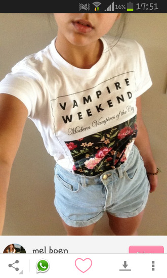 shirt where to get this shorts white with flowers denim shorts german shop t-shirt white vampire weekend outfit fashion style cute girly top ring shorts ootd vampire graphic tee graphic shirt quote on it stylish trendy outfit idea fashion inspo tumblr pretty gorgeous pale pale grunge alternative tumblr outfit high waisted shorts acid wash light wash shorts blogger fashionista chill rad on point clothing