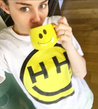 shirt yellow white happy miley cyrus top outfit print hh miley cyrus shirt