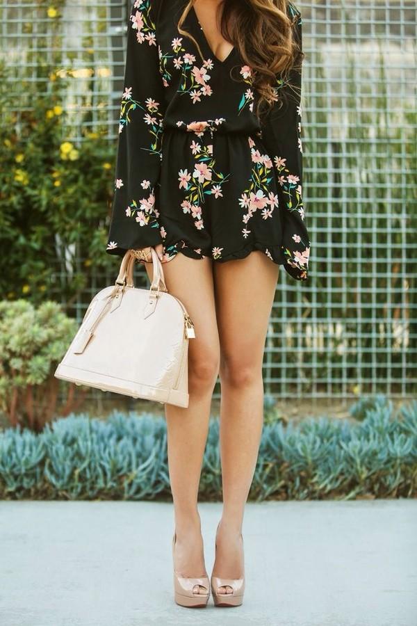 blouse bag beige floral romper black romper