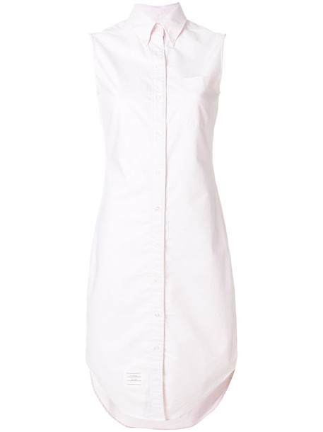 Thom Browne dress shirt dress sleeveless women nude cotton