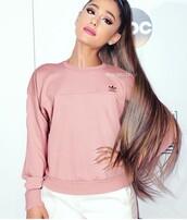 sweater,ariana grande,baby pink,adidas,sweatshirt