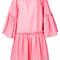 Msgm - flared ruffle trim dress - women - cotton/polyester - 44, pink/purple, cotton/polyester