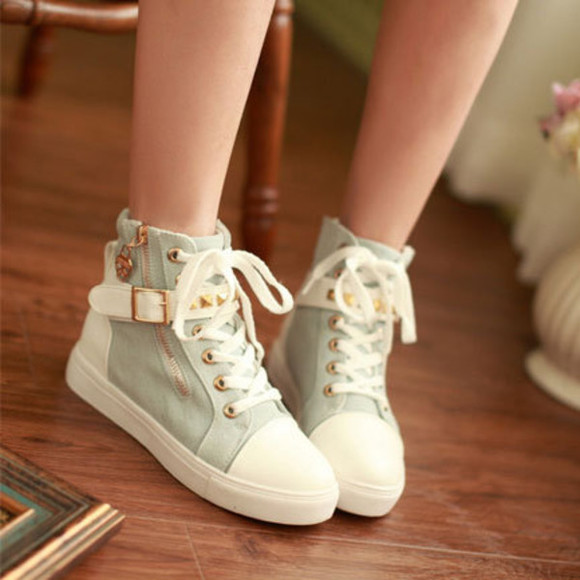 shoes high top sneaker high tops canvas shoes zip lace up shoes mint sneakers buckle shoes platform shoes