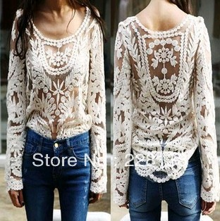 NEW 2014 Black/white Dress Sweet Semi Sexy Sheer Long Sleeve Embroidery Floral Lace Crochet Tee Top T shirt Vintage S M L XL on Aliexpress.com