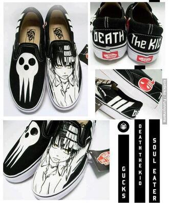 shoes black flats white anime death