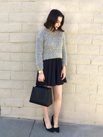 cost with me blogger sweater skirt bag shoes grey sweater mini skirt handbag pumps