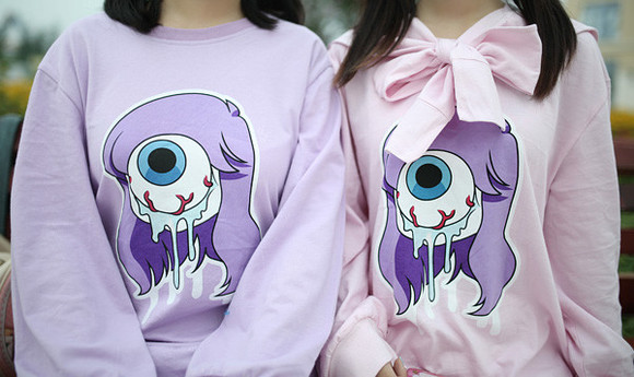 pullover pastel goth kawaii fashion japanese fashion tokyo fashion cfashion chinese fashion korean fashion kfashion harajuku fashion harajuku tokyo eyeball winter fashion fall outfits