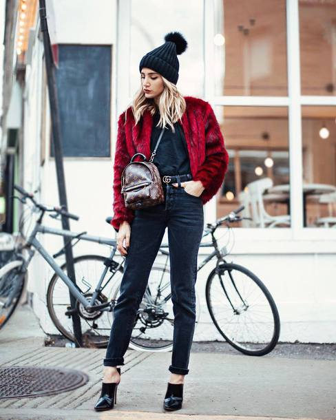 jacket tumblr red jacket fur jacket faux fur jacket black beanie beanie denim jeans black jeans mules backpack