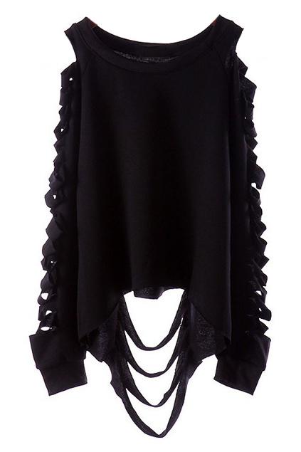 ROMWE | Cut-out Broken Black Sweatshirt, The Latest Street Fashion