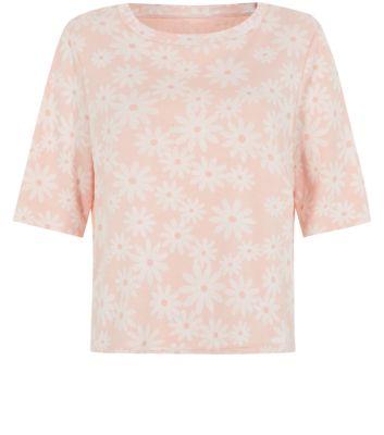 Pink Daisy Print Jacquard Boxy T-Shirt