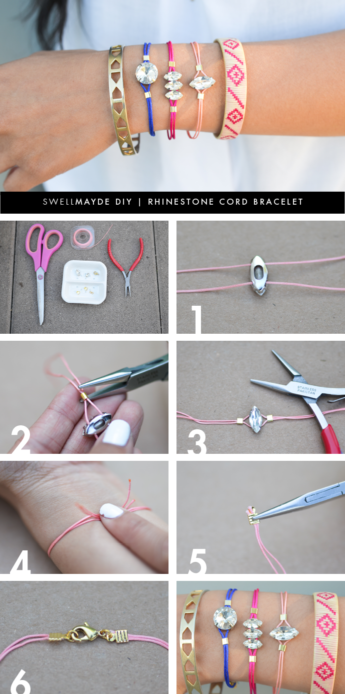 swellmayde: DIY | RHINESTONE CORD BRACELET