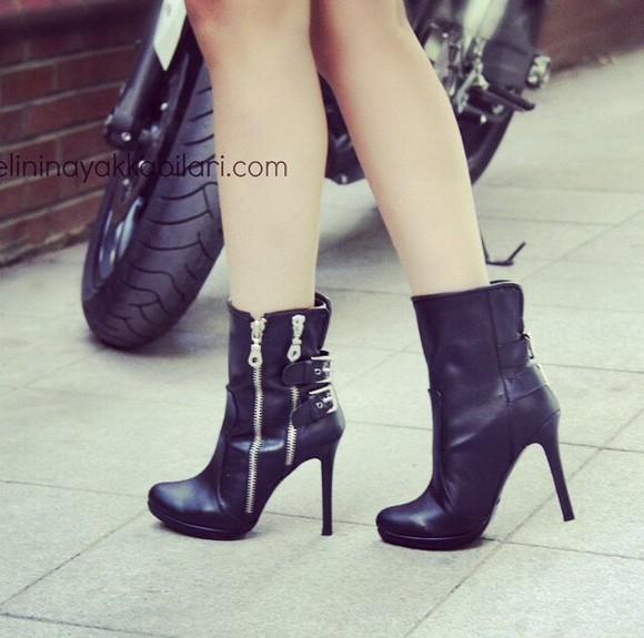 shoes heels black boots