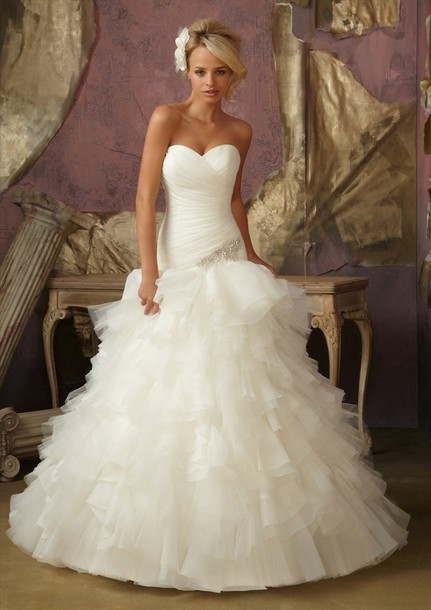 Dress: wedding clothes, wedding dress, strapless wedding dresses ...
