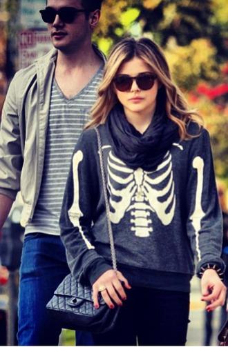sweater celebrity style chloe moretz skull sweater