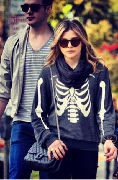 sweater celebrity style chloe grace moretz skull sweater