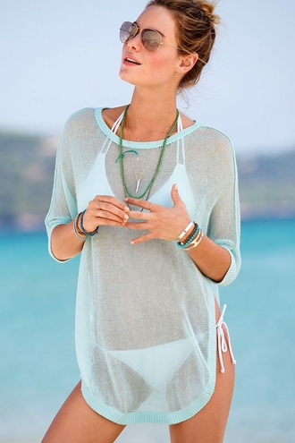 blouse t-shirt see through mesh sky blue beach summer summer outfits swimwear zaful sunglasses cover up