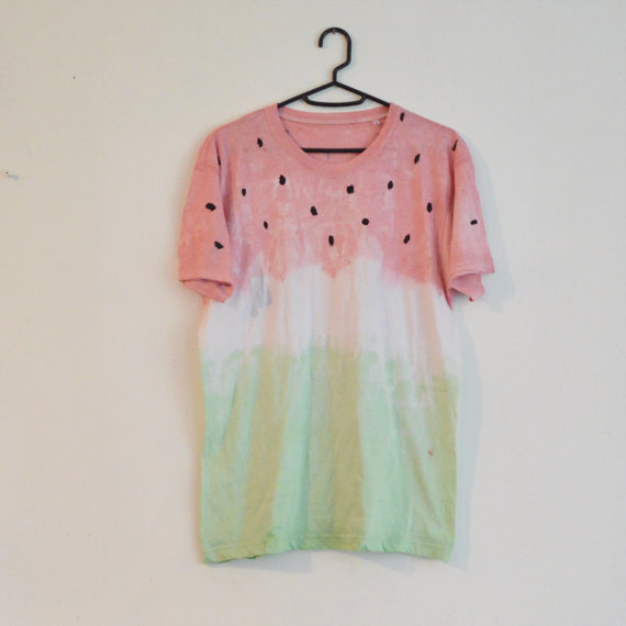 Summer style hippie cute tie dyed yummy watermelon t