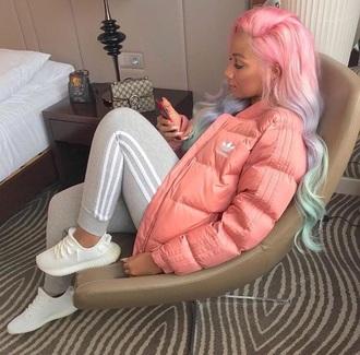 coat adidas adidas jacket addias jacket addidas pants addias shoes pink white white sneakers grey peach cute instagram tumblr pinterest