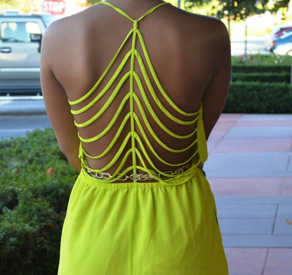 neon romper bright colorful neon green neon romper neon playsuit neon yellow jumpsuit blogger cut-out style boutique
